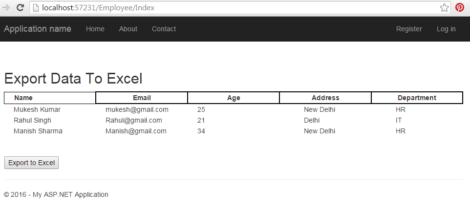 Export Data in Excel File with Asp Net MVC | Mukesh Kumar