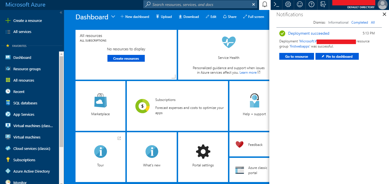 Azure Web App Created Successfully