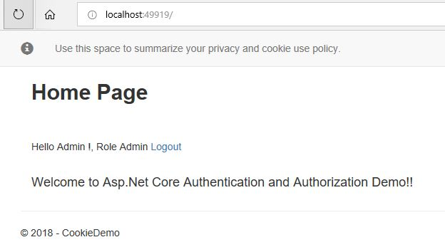 Asp.Net Core MVC Authentication and Authorization
