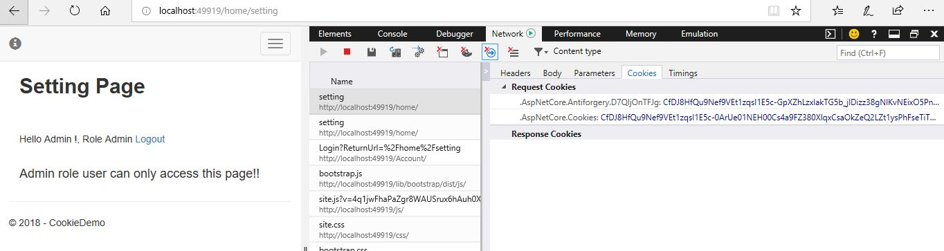 Cookie based authentication in asp.net core