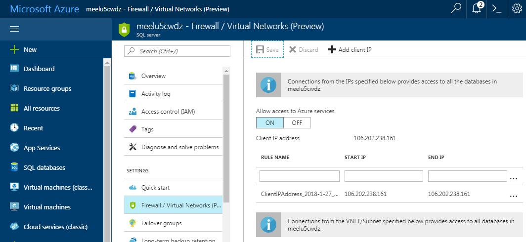 Microsoft Azure Firewall Rules