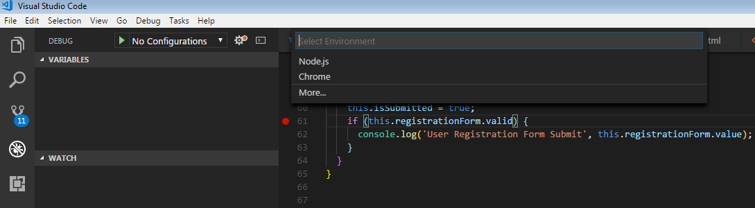 Angular Debug Chrome