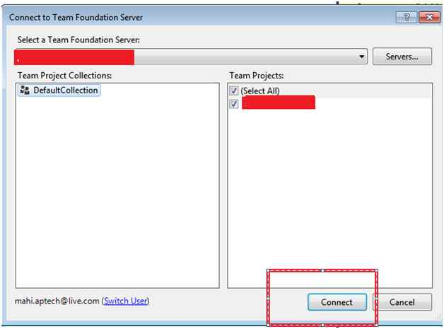 Connect to Team Foundation Server