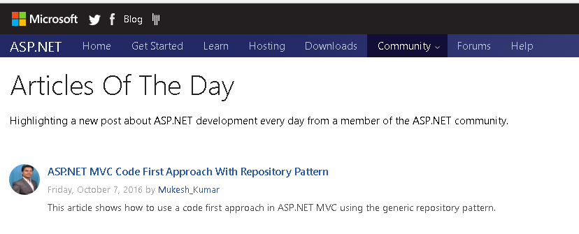 Article Of The Day: Microsoft Asp.Net
