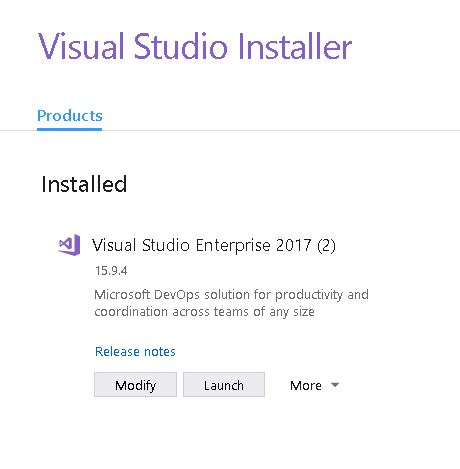Visual Studio 2017 modify