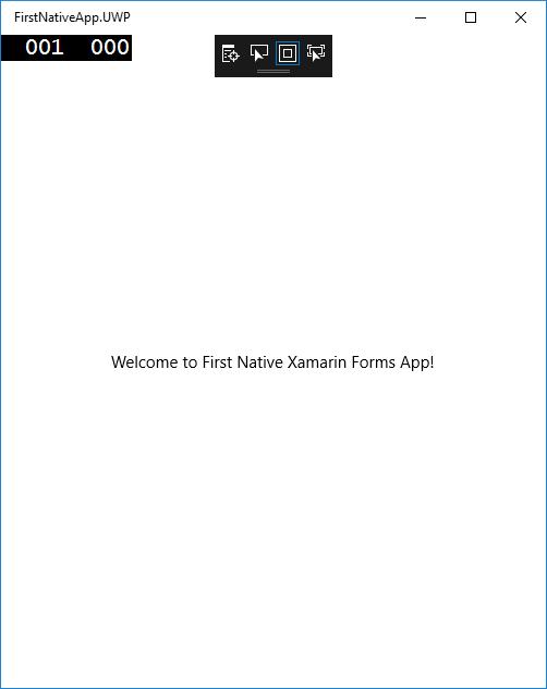 UWP App running