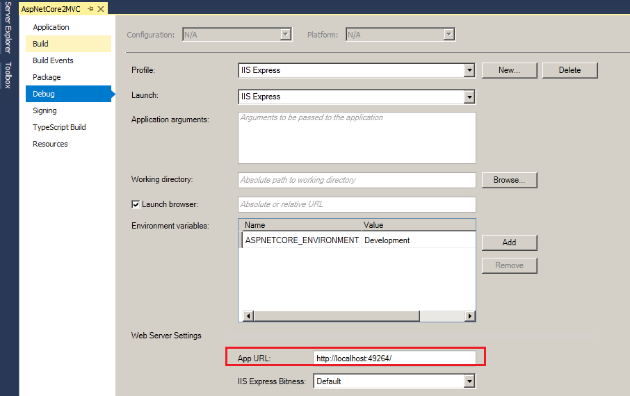 IIS Express Asp.Net Core MVC