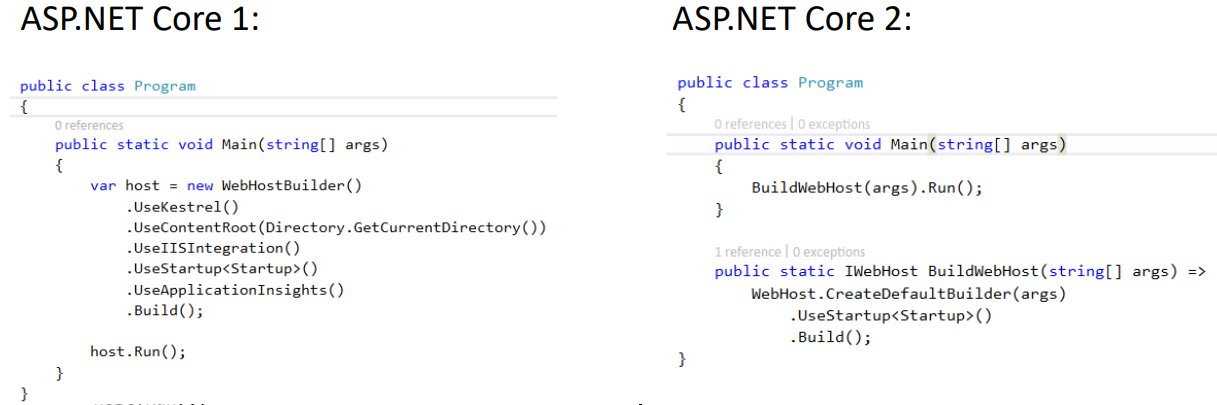 Asp.net core 1 vs Asp.net core 2