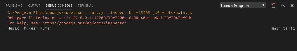 Typescript output