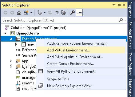 Add Virtual Environment in Visual Studio for python